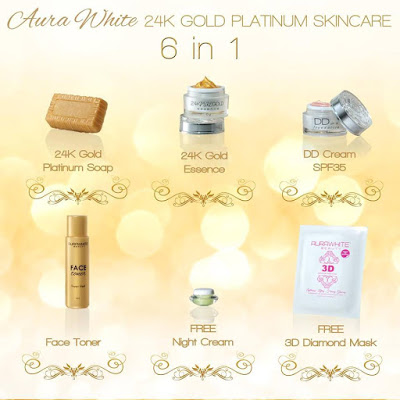AURA WHITE 24K Luxury Gold Platinum Skin Care and Beauty Set
